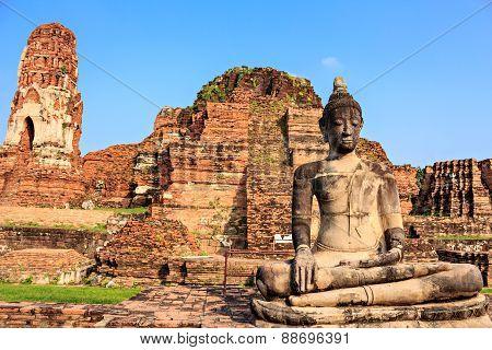Statue Of Buddha At Wat Mahathat In Ayutthaya Thailand.