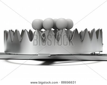 Metal animal trap with people isolated on white