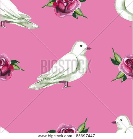 Watercolor seamless pattern with white doves and roses. Vector illustration