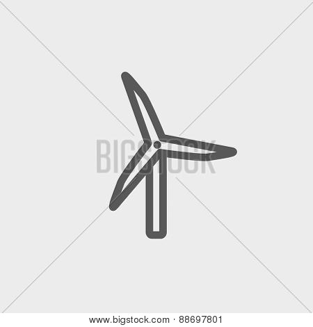 Windmill icon thin line for web and mobile, modern minimalistic flat design. Vector dark grey icon on light grey background.
