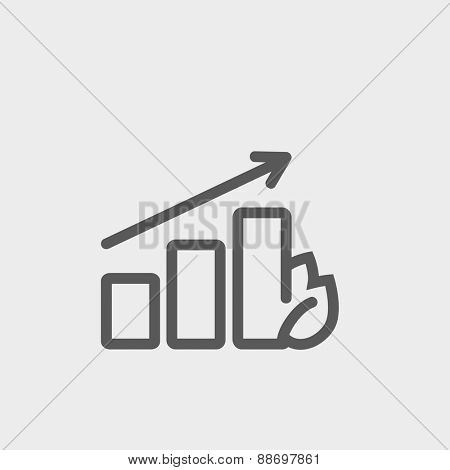 Growing graph icon thin line for web and mobile, modern minimalistic flat design. Vector dark grey icon on light grey background.