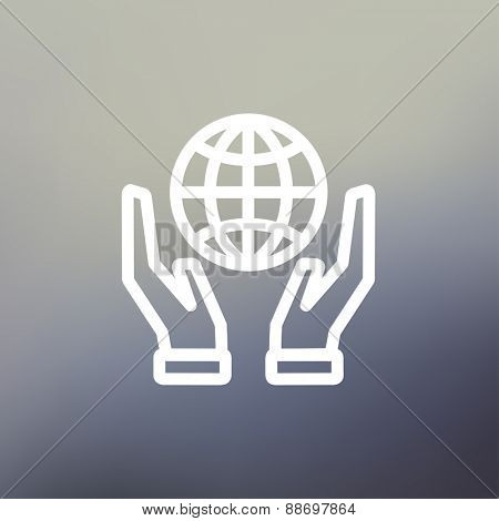 Two hands holding globe icon thin line for web and mobile, modern minimalistic flat design. Vector white icon on gradient mesh background.
