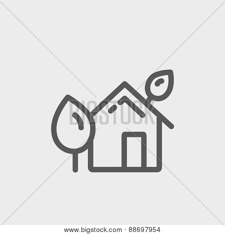 House with leaves icon thin line for web and mobile, modern minimalistic flat design. Vector dark grey icon on light grey background.