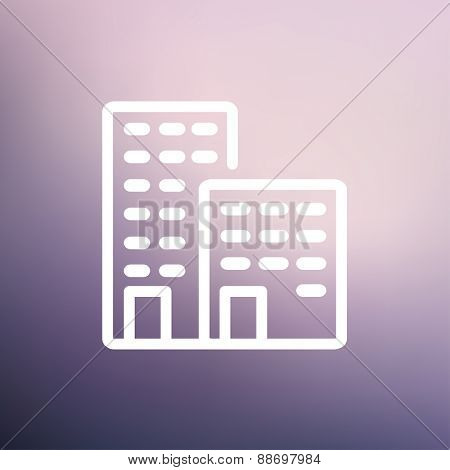 Office buildings icon thin line for web and mobile, modern minimalistic flat design. Vector white icon on gradient mesh background.