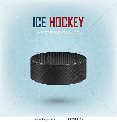 Black Hockey Puck On Ice Rink - Vector Background.