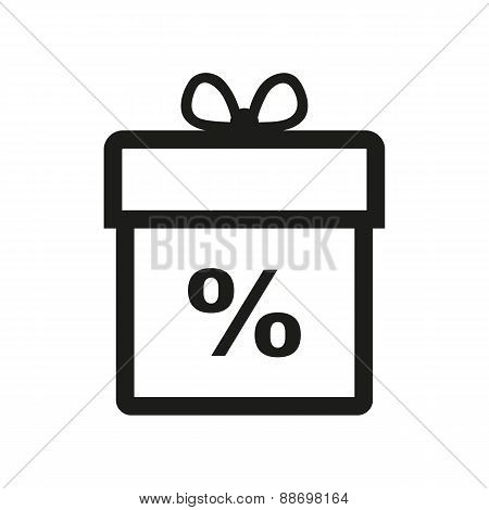 Gift Box Icon. Discount. Present Symbol. Flat
