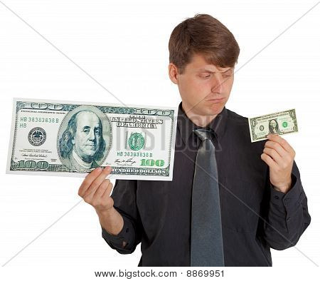 Businessman Feels Difference Between Large And Small Money