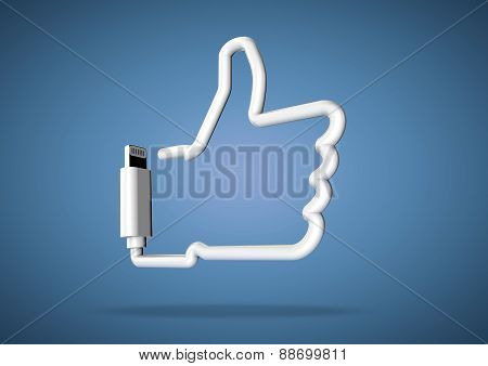 Computer cable makes internet social media like icon
