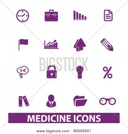 medicine, hospital icons, signs, illustrations set, vector