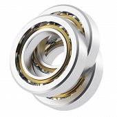 image of friction  - Three isolated realistic angled bearing on a white background with small scratches - JPG