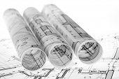 image of blueprints  - rolls of architecture blueprints  - JPG