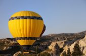 stock photo of goreme  - Hot air balloons in mountains at morning - JPG
