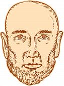 stock photo of bald head  - Etching engraving handmade style illustration of a bald head bearded male facing front set on isolated white background - JPG