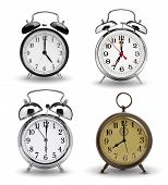 image of analog clock  - Collection of alarm clocks isolated on white background - JPG
