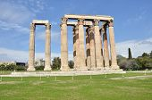 stock photo of olympian  - A view of the remains of the temple of Olympian Zeus in Athens - JPG
