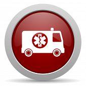 foto of ambulance  - ambulance red glossy web icon  - JPG