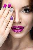 picture of nail-design  - Beautiful girl with a bright evening make - JPG