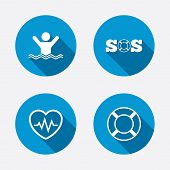 picture of heartbeat  - SOS lifebuoy icon - JPG