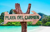 picture of playa del carmen  - Playa Del Carmen wooden sign with beach background - JPG