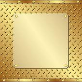 picture of plaque  - golden plaque on textured background   - JPG