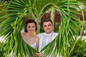 foto of married  - young loving couple on tropical sea background  - JPG