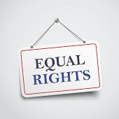 pic of equality  - equal rights hanging sign isolated on white wall - JPG