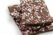 picture of peppermint  - Choolate bark with peppermint on a white background - JPG