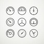 stock photo of speedometer  - Different slyles of speedometers vector collection - JPG
