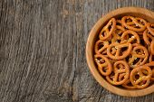 picture of pretzels  - Bowl of salty pretzels in natural light - JPG