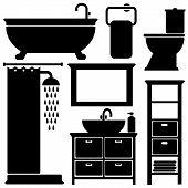 stock photo of toilet  - Bathroom toilet black icons set silhouettes on white background vector illustration - JPG