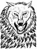 stock photo of silkscreening  - Grunge sketch of an abstract wolf hand drawn illustration - JPG