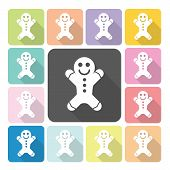 picture of ginger bread  - Ginger bread Icon color set vector illustration - JPG