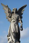picture of blue angels  - Large close up of Angel statue set against blue sky - JPG