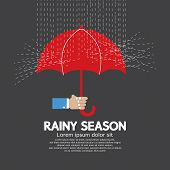 foto of rainy season  - Hand Holding Red Umbrella Rainy Season Graphic Vector Illustration - JPG