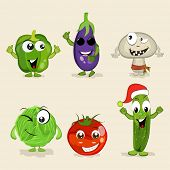 pic of brinjal  - Set of funny vegetable cartoon characters showing thumbs up on beige background - JPG