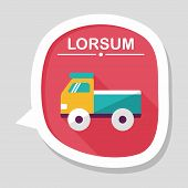 picture of food truck  - Truck Flat Icon With Long Shadow - JPG