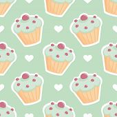 image of mint-green  - Tile vector pattern with cupcake and hearts on mint green background for seamless decoration wallpaper - JPG