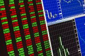 stock photo of currency  - schedules and charts of financial instruments quotations of currencies changes in real time focus it is adjusted on the central part of a shot focus is more right than the center of a shot  - JPG