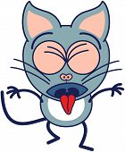 picture of throw up  - Cute gray cat in minimalistic style with pointy ears and long tail while clenching its bulging eyes - JPG