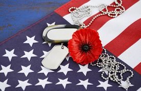 picture of memorial  - USA Memorial Day concept with dog tags and red remembrance poppy on American stars and stripes flag on dark blue vintage wood table - JPG