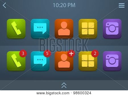 Vector set of bright icons for mobile phone ui, eps10