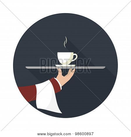 Waiter With Cup Of Coffee, Vector Icon.
