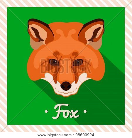 Vector portrait of a  red fox. Symmetrical portraits of animals. Vector Illustration.