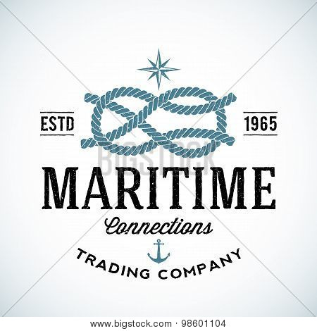 Vintage Maritime Trading Company Vector Logo Template with Shabby Texture.