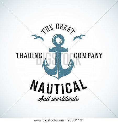 Simple Anchor Retro Logo Template For Any Kind of Marine Business. Textured.