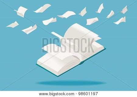 White Book And Paper Sheets Flying