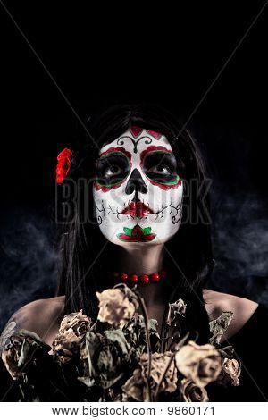 Sugar Skull Girl With Dead Roses