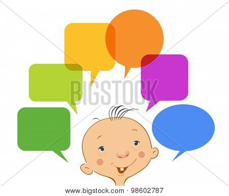 A small child with speech bubble. File is saved in 10 EPS version. This illustration contains a transparency