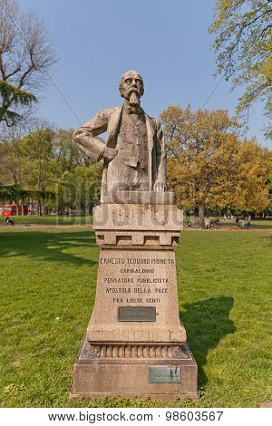 Ernesto Teodoro Moneta Statue In Milan, Italy