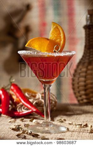 Red Margarita Cocktail with Orange Slice